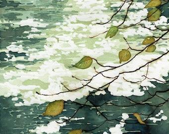Archival print of watercolour landscape 'River Teign #1' by Danielle Barlow