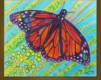 Crayola Butterfly -- 20 x 24 inch Original Oil Painting by Elizabeth Graf -- Art Painting, Art & Collectibles