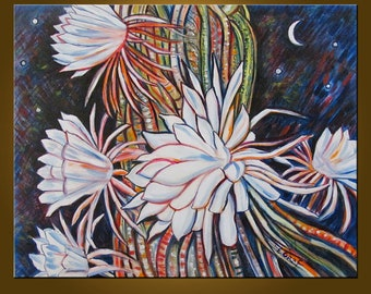 Night Blooming Cereus Supreme -- 24 x 30 inch Original Oil Painting by Elizabeth Graf -- Art Painting, Art & Collectibles