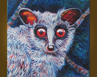 Bush Baby -- 14 x 14 inch Original Oil Painting by Elizabeth Graf -- Art Painting, Art & Collectibles