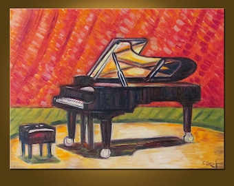 Grand Piano -- 18 x 24 inch Original Oil Painting by Elizabeth Graf -- Art Painting, Art & Collectibles
