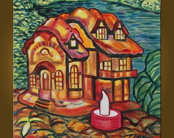 Little House -- 14 x 14 inch Original Oil Painting by Elizabeth Graf -- Art Painting, Art & Collectibles