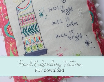 hand embroidery pattern. christmas embroidery. midmod vintage decor.learn to embroider.midcentury modern embroidery sampler.digital download