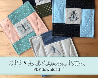 bug coasters - english paper pieced - hand embroidered bugs - epp - PDF downloadable pattern - DIY coaster pattern