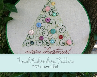 scroll swirl tree holiday christmas hand embroidery PATTERN pdf download christmas embroidery design holiday decor hoop art  vintage buttons