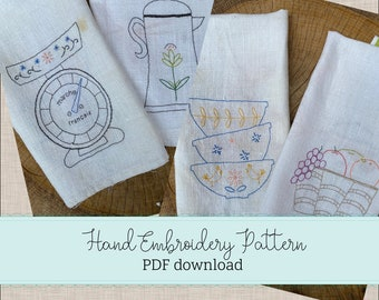 hand embroidery PATTERN french tea towels - PDF pattern - flour sack linen kitchen towels - french kitchen -