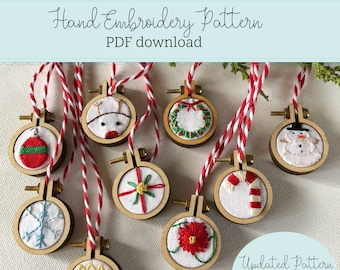 mini christmas ornaments - hand embroidery PATTERN - PDF downloadable pattern - UPDATED sizes - 1 inch mini hoops or 3 inch - ornament