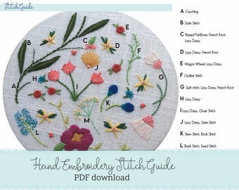 hand embroidery DIY - beginners embroidery guide - stitch guide - printable PDF how to embroider - learn how to embroider