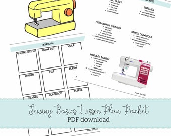 Learn to Sew PDF download Lesson packet Interactive Sewing School Printable School of Sewing Learn your sewing machine reading a pattern