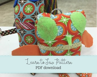Learn to Sew - Beginner Sewing & Pattern Design - Design and Sew a Softie - PDF download - You make the Pattern - Kid's sewing