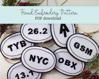 bumper sticker decal ornaments - hand embroidery PDF PATTERN - gifts for runners -outdoor- hiker - instant download