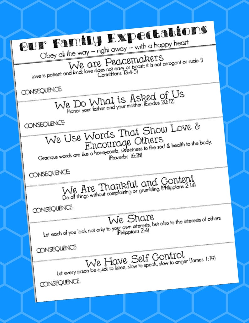 If Then Behavior Chart Printable - with scripture - PDF instand download -  Digital - you write the consequences - inspired by Doorposts