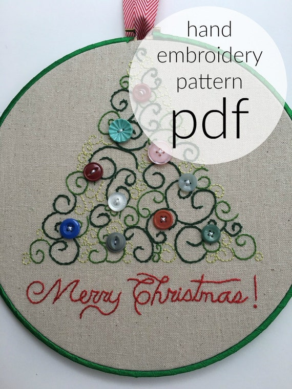 Scroll Swirl Tree Holiday Christmas Hand Embroidery Pattern Etsy