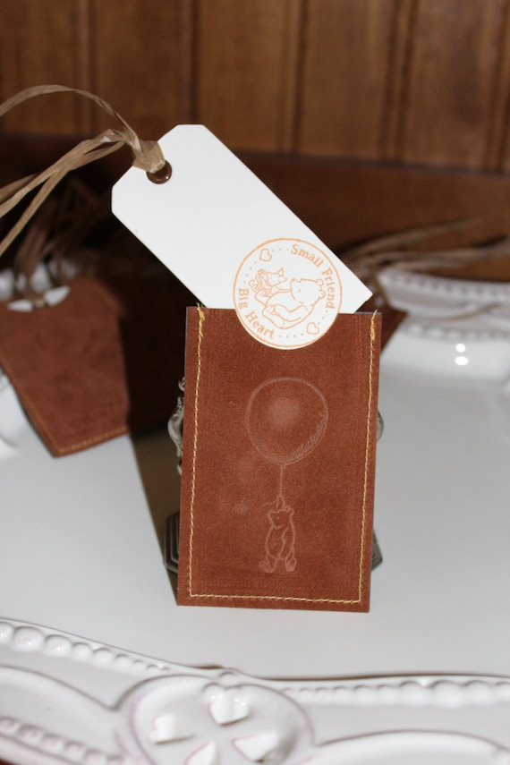 12 Baby Gift Tags ~ Winnie the Pooh Tags in Brown Suede