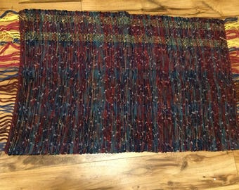 Woven Rug- Recycled Cotton- Blue Rug, Maroon Rug, Plaid Rug, Cotton Rug, Striped Rug