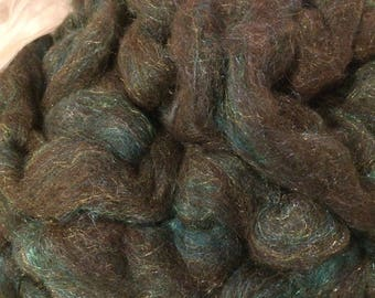 Alpaca Corriedale Bamboo Firestar Blend Roving- Black and Teal Pencil Roving- 4 oz. - Spinning, Felting, Fiber, Craft, Knitting, Crochet