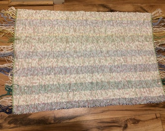 Woven Rug- Recycled Cotton- Pastel Rug, Flower Rug, Cotton Rug, Striped Rug