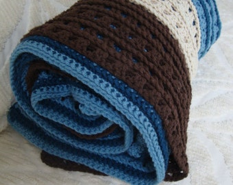 vintage hand crocheted  warm large afghan in brown, blue and cream