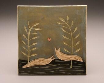Slug Sweethearts- 6x6 ceramic tile-Ruchika Madan