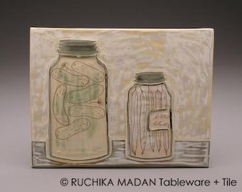 Mason Jars, Pickles- 6x8 tile- Ruchika Madan