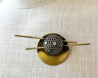 Vintage Modernist Design Brooch - Sphere and Stick - 3d Dome - Mixed Metal - Artsy