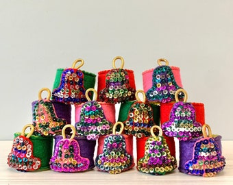 Vintage Felt and Sequin Napkin Rings - Set of 12 - Handmade and Beaded - Christmas Bells