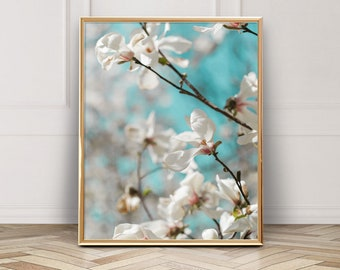 White Magnolia Photo - Digital Download - Instant Download - Printable Photography - Flower Photo - Dreamy Floral
