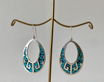 Vintage Sterling Silver Mexico 925 Earrings - Onyx & Turquoise Inlay - TA-70 925