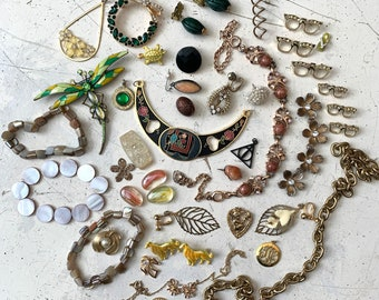 Lot of 44 Vintage to Modern Pieces and Parts - For Jewelry , Mixed Media Art, Upcycling, Repurposing, Assemblage Etc.