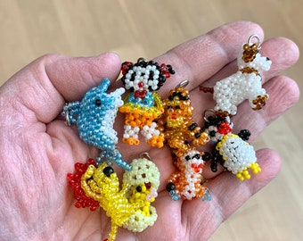 8 PC Lot Of Hand Beaded Tiny Whimsical Charms - Animals - People - Dolphin