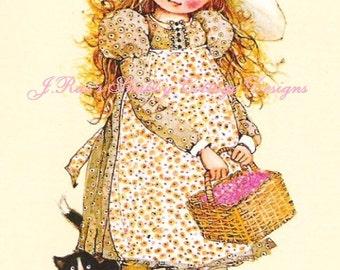 f8a3a22edb Cutest Vintage Print on Fabric Holly Hobbie w Kitty Cat Fabric Block 8x10  Quilting Sewing Crafting