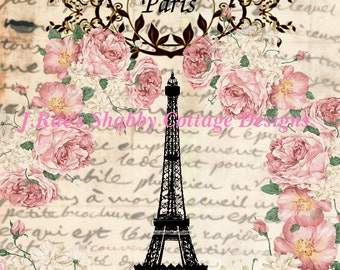 Altered Art Eiffel Tower Paris French Roses Fabric Block 5x7 JRaes Exclusive