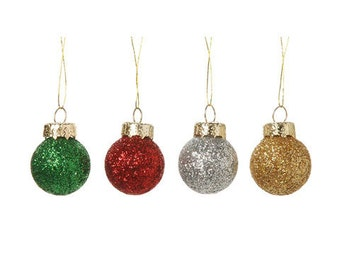 Miniature Glitter Ball Ornaments