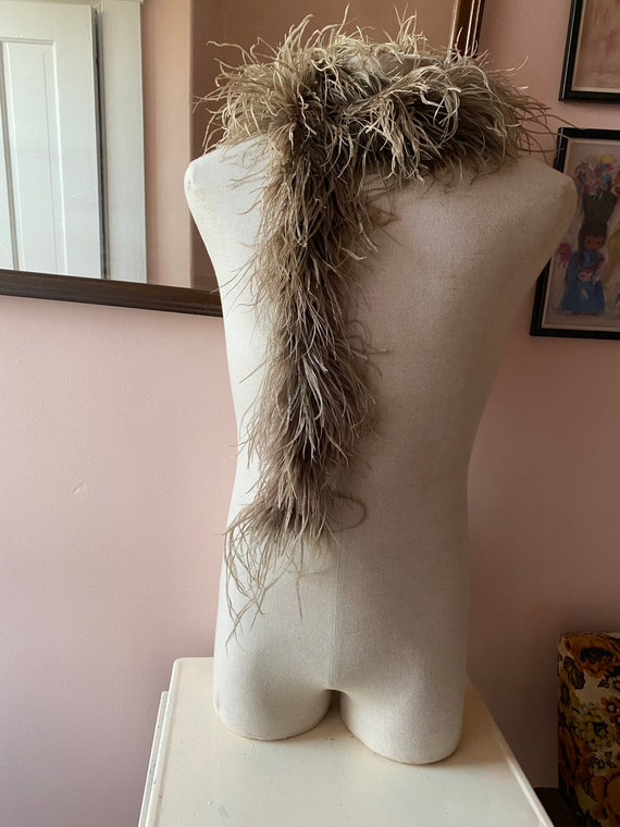 Vintage Mocha Brown Ostrich Feather Boa - feather
