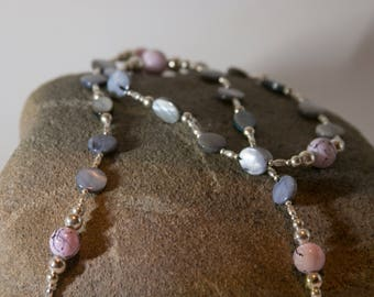 Grey and Pink Long Necklace