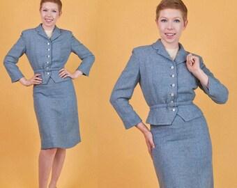 LORD & TAYLOR Vintage 40s Blue Wool 3pc HOURGLASS Skirt Suit Jacket/Blazer Belt xs/s