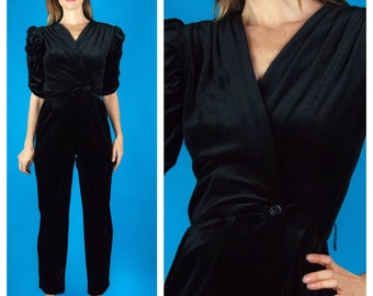 44e4dd31be08 FABULOUS Vtg 70s 80s Black Plunging V Puff Sleeve Rouche Rouching Wrap  Evening Jumpsuit XS S