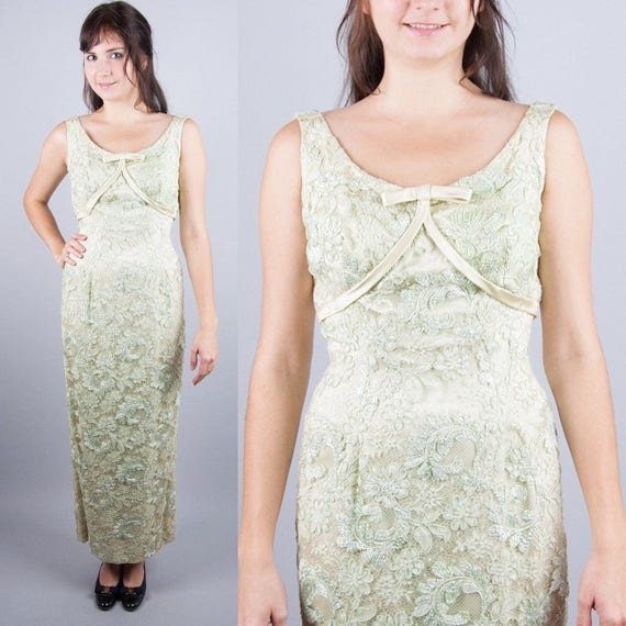 Unworn Vintage 50s COUTURE Lime Green Lace Tulle+R