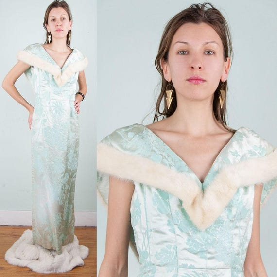 White Mink Fur+Mint Green BROCADE Vintage 50s COUT