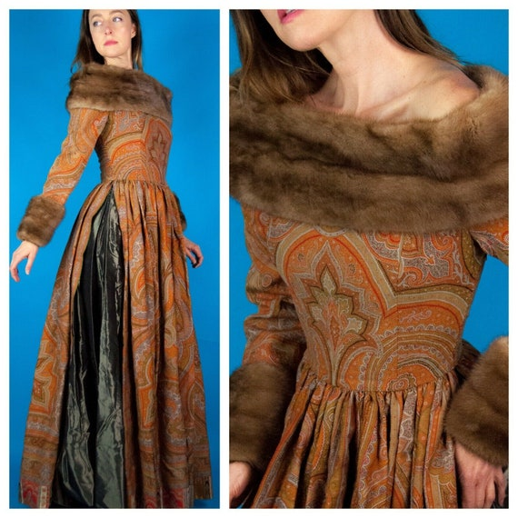LANVIN c.1970s Haute Couture Russian Dress Gown Mi