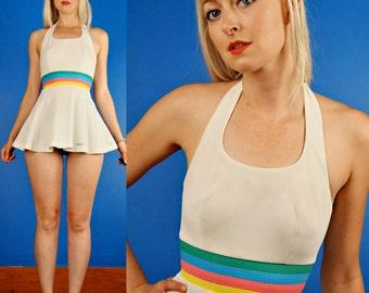 Rainbow Stripe Halter Vintage 70s Mini White Tennis Dress XS