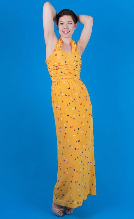 Oscar De La Renta Vintage 70s 80s Yellow Silk Pri… - image 4