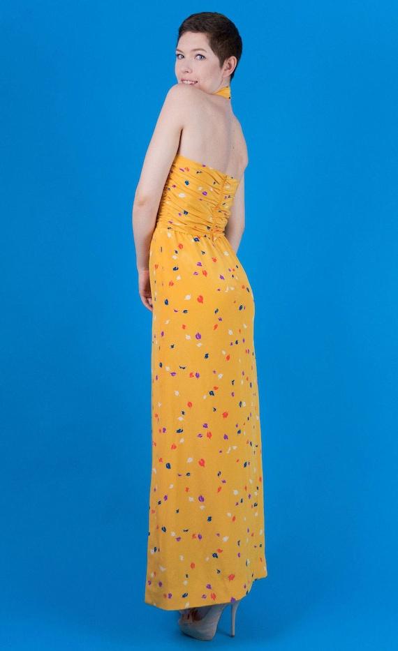 Oscar De La Renta Vintage 70s 80s Yellow Silk Pri… - image 5