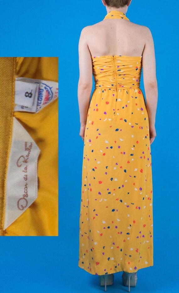 Oscar De La Renta Vintage 70s 80s Yellow Silk Pri… - image 6