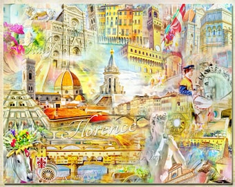 Florence Italy, an Artistic Collage