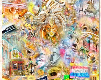 New Orleans the Big Easy, an Artistic Collage