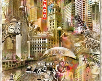 Chicago The Windy City, an Artistic Collage