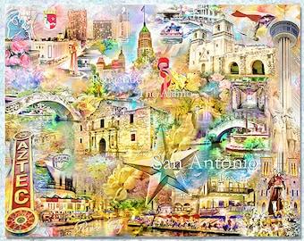 San Antonio Texas, an Artistic Collage