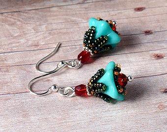 Turquoise Fairy garden flowers beadwoven earrings