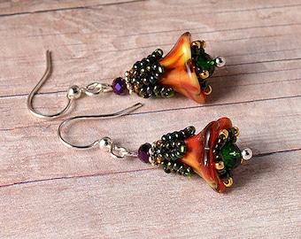 Fairy garden Autumn flowers beadwoven earrings